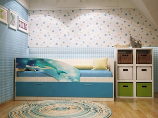 Детская кровать с фотопечатью Дельфин ПВХ
